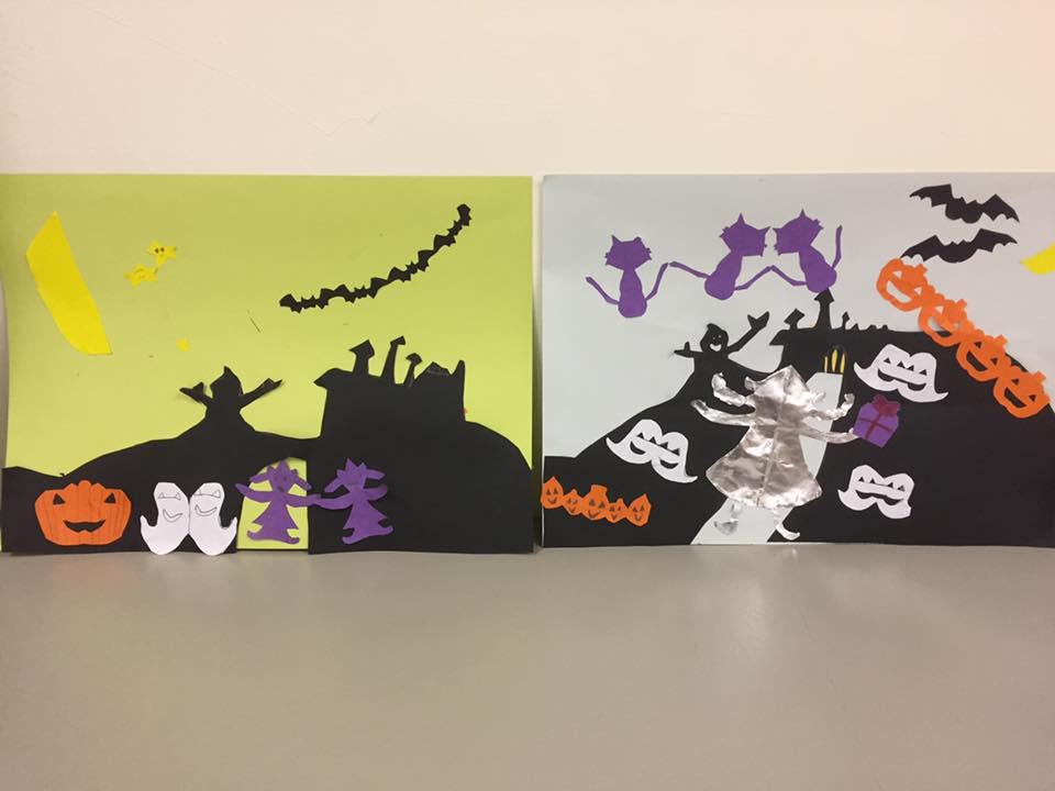 折り紙をいろいろに折って、 つながっているネコちゃんやオバケ、コウモリや魔女などを切り、 それぞれ上手に貼りました。